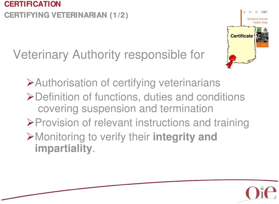 and conditions covering suspension and termination Provision of relevant