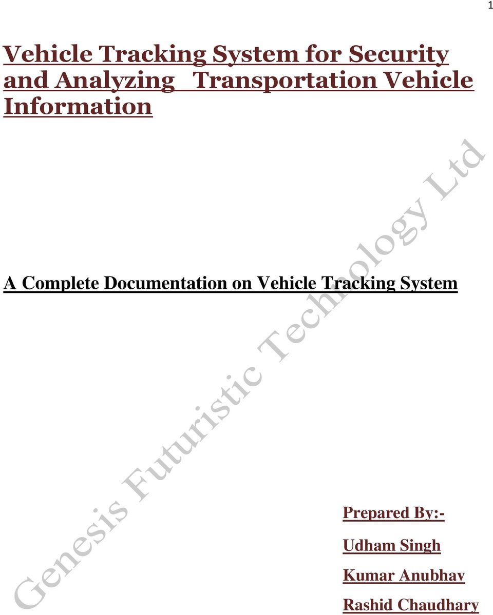 Complete Documentation on Vehicle Tracking