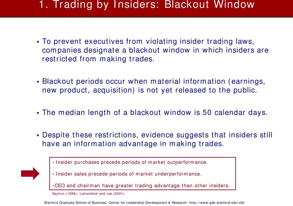 The median length of a blackout window is 50 calendar days. Despite these restrictions, evidence suggests that insiders still have an information advantage in making trades.