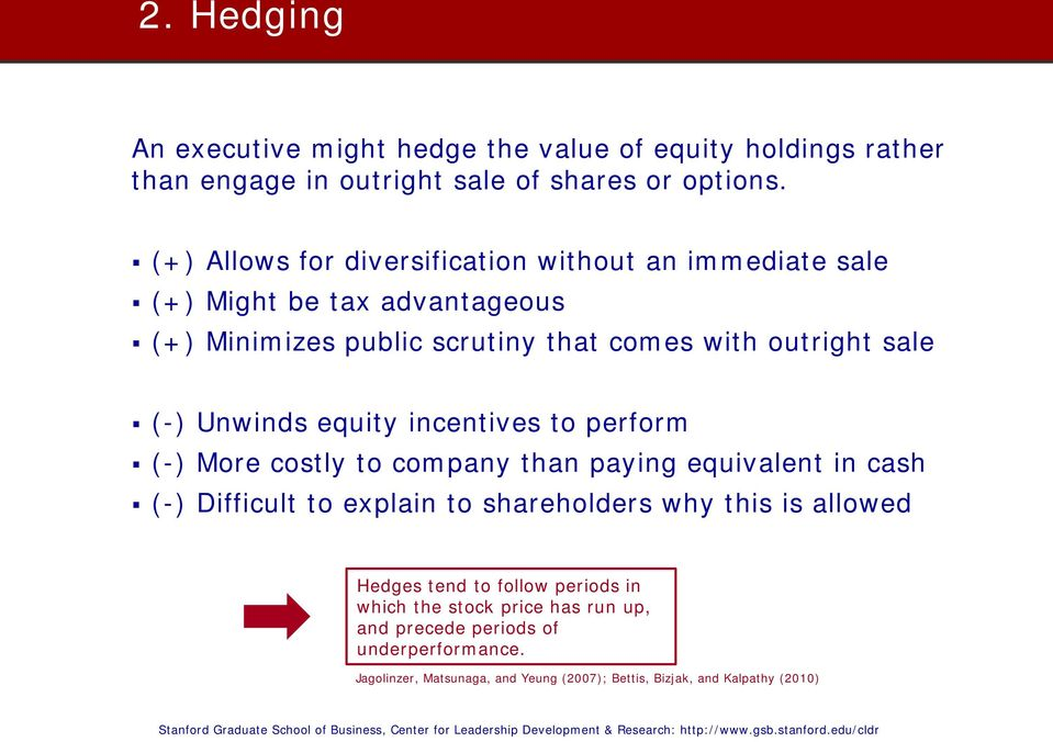 Unwinds equity incentives to perform (-) More costly to company than paying equivalent in cash (-) Difficult to explain to shareholders why this is