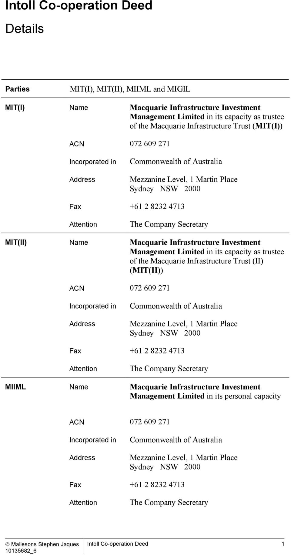 Macquarie Infrastructure Investment Management Limited in its capacity as trustee of the Macquarie Infrastructure Trust (II (MIT(II ACN 072 609 271 Incorporated in Address Commonwealth of Australia