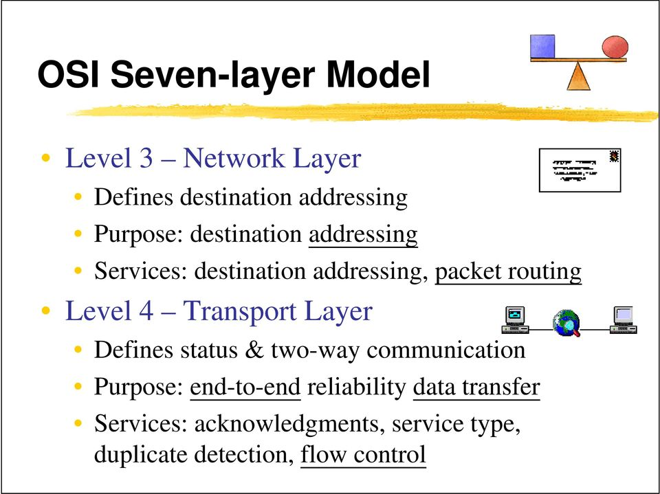 Transport Layer Defines status & two-way communication Purpose: end-to-end