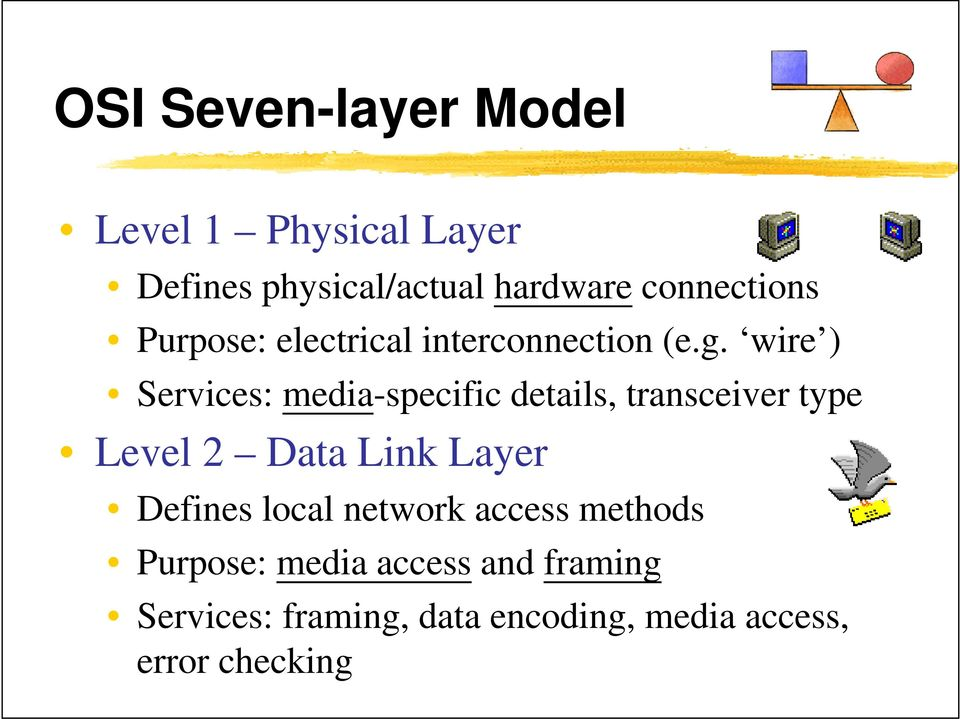 wire ) Services: media-specific details, transceiver type Level 2 Data Link Layer