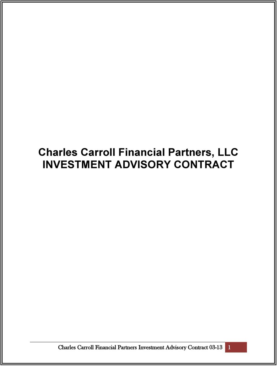 CONTRACT  Partners Investment