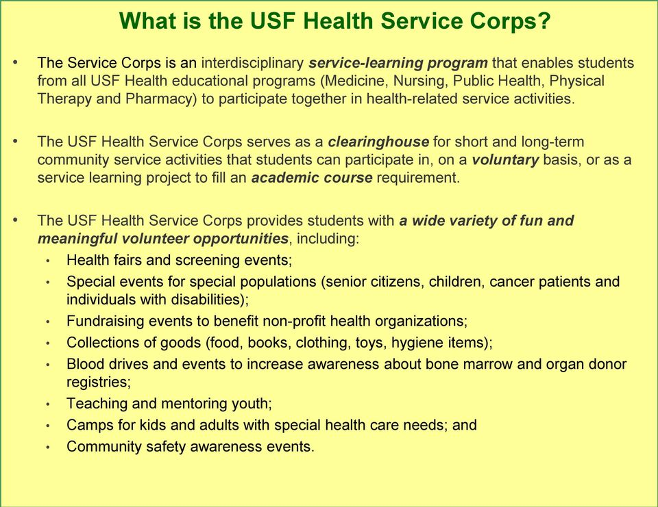 participate together in health-related service activities.