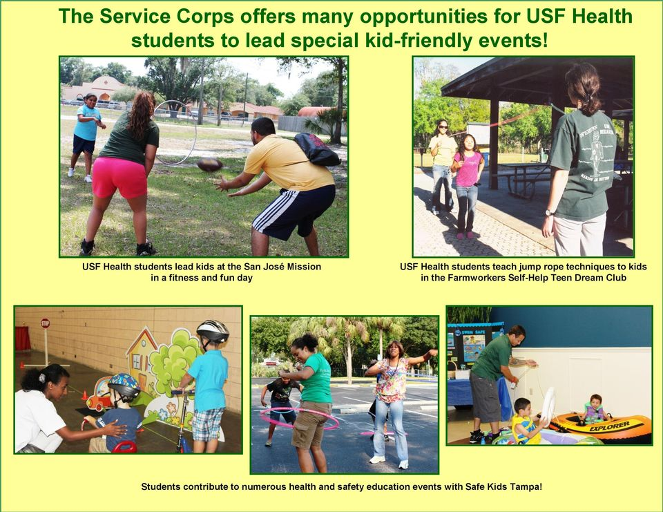 USF Health students lead kids at the San José Mission in a fitness and fun day USF Health