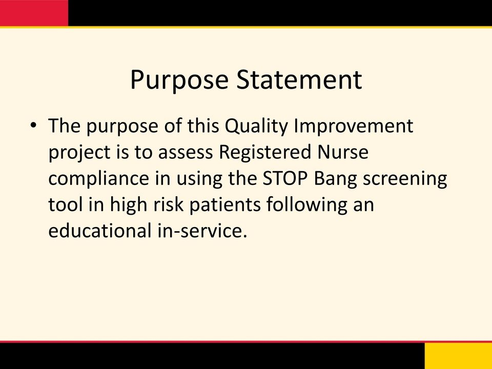 compliance in using the STOP Bang screening tool