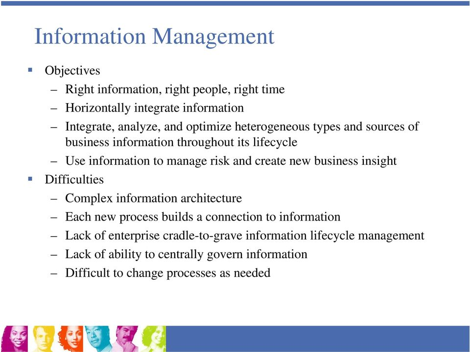 new business insight Difficulties Complex information architecture Each new process builds a connection to information Lack of