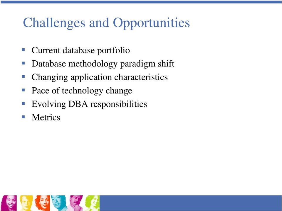 Changing application characteristics Pace of