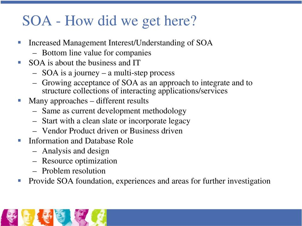 Growing acceptance of SOA as an approach to integrate and to structure collections of interacting applications/services Many approaches different results