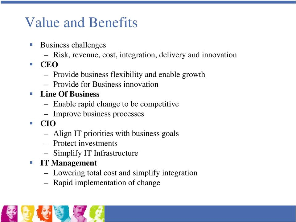 be competitive Improve business processes CIO Align IT priorities with business goals Protect investments
