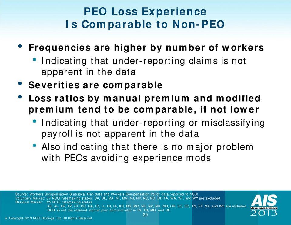 problem with PEOs avoiding experience mods Source: Workers Compensation Statistical Plan data and Workers Compensation Policy data reported to NCCI Voluntary Market: 37 NCCI ratemaking states; CA,