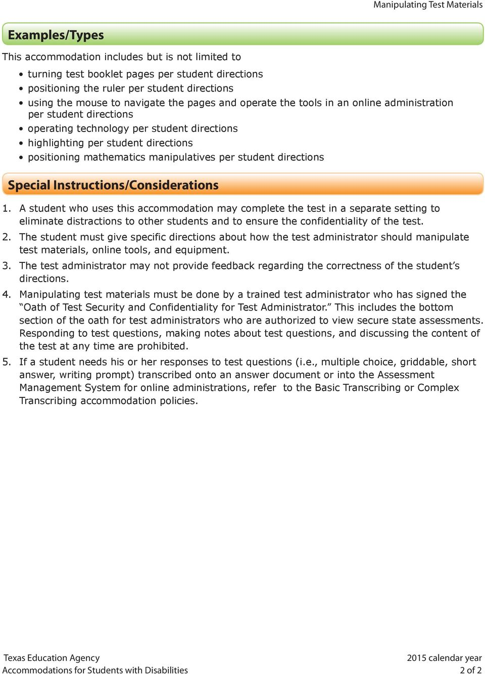 mathematics manipulatives per student directions Special Instructions/Considerations 1.