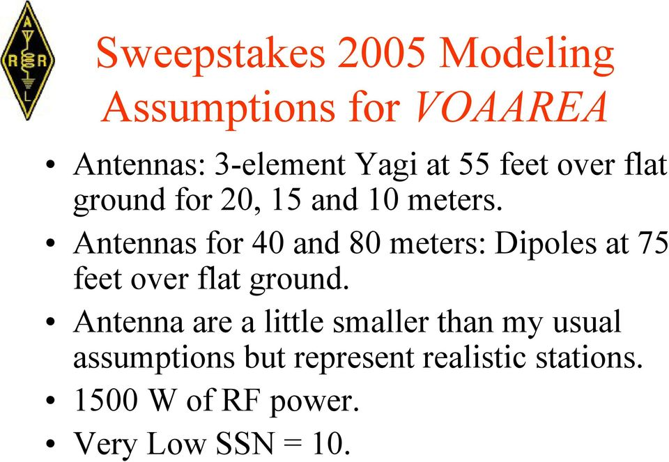 Antennas for 40 and 80 meters: Dipoles at 75 feet over flat ground.