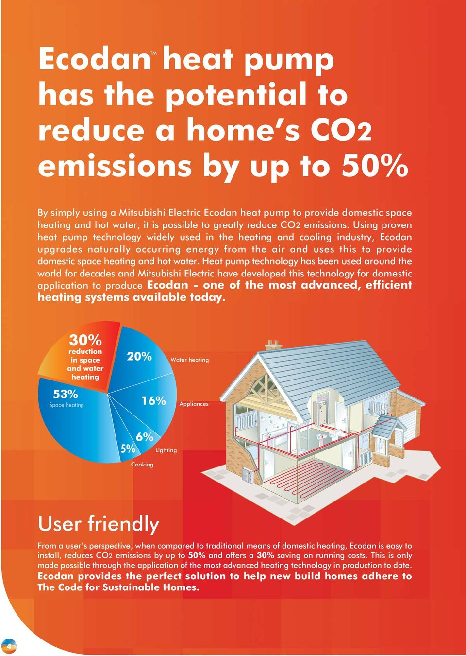Using proven heat pump technology widely used in the heating and cooling industry, Ecodan upgrades naturally occurring energy from the air and uses this to provide domestic space heating and hot