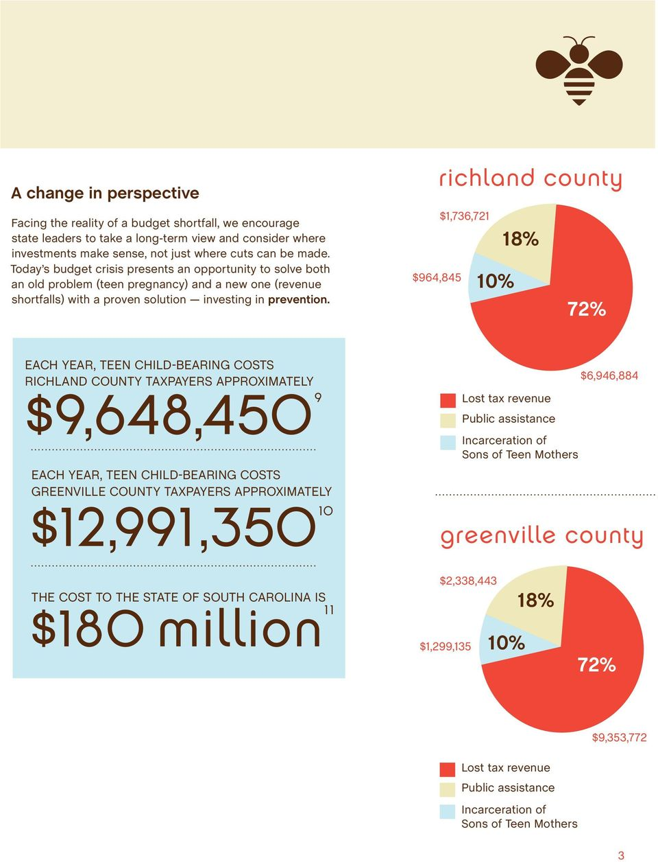 $964,845 richland county $1,736,721 18% 10% 72% EACH YEAR, TEEN CHILD-BEARING COSTS RICHLAND COUNTY TAXPAYERS APPROXIMATELY $9,648,4509 EACH YEAR, TEEN CHILD-BEARING COSTS GREENVILLE COUNTY TAXPAYERS