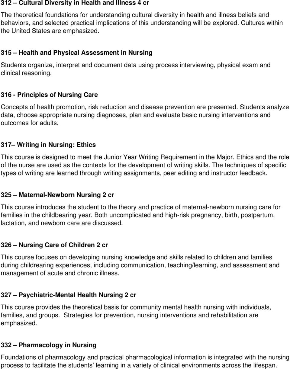 315 Health and Physical Assessment in Nursing Students organize, interpret and document data using process interviewing, physical exam and clinical reasoning.