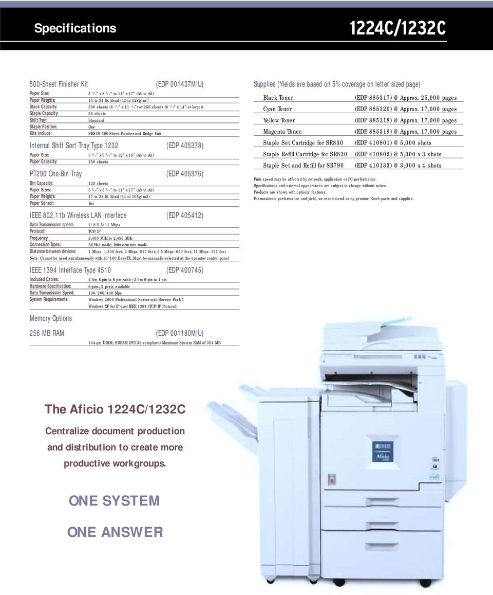 500-Sheet Finisher and Bridge Unit Internal Shift Sort Tray Type 1232 (EDP 405378) Paper Size: 5 1 /2 x 8 1 /2 to 12 x 18 (A6 to A3) Paper Capacity: 250 sheets PT290 One-Bin Tray (EDP 405376) Bin