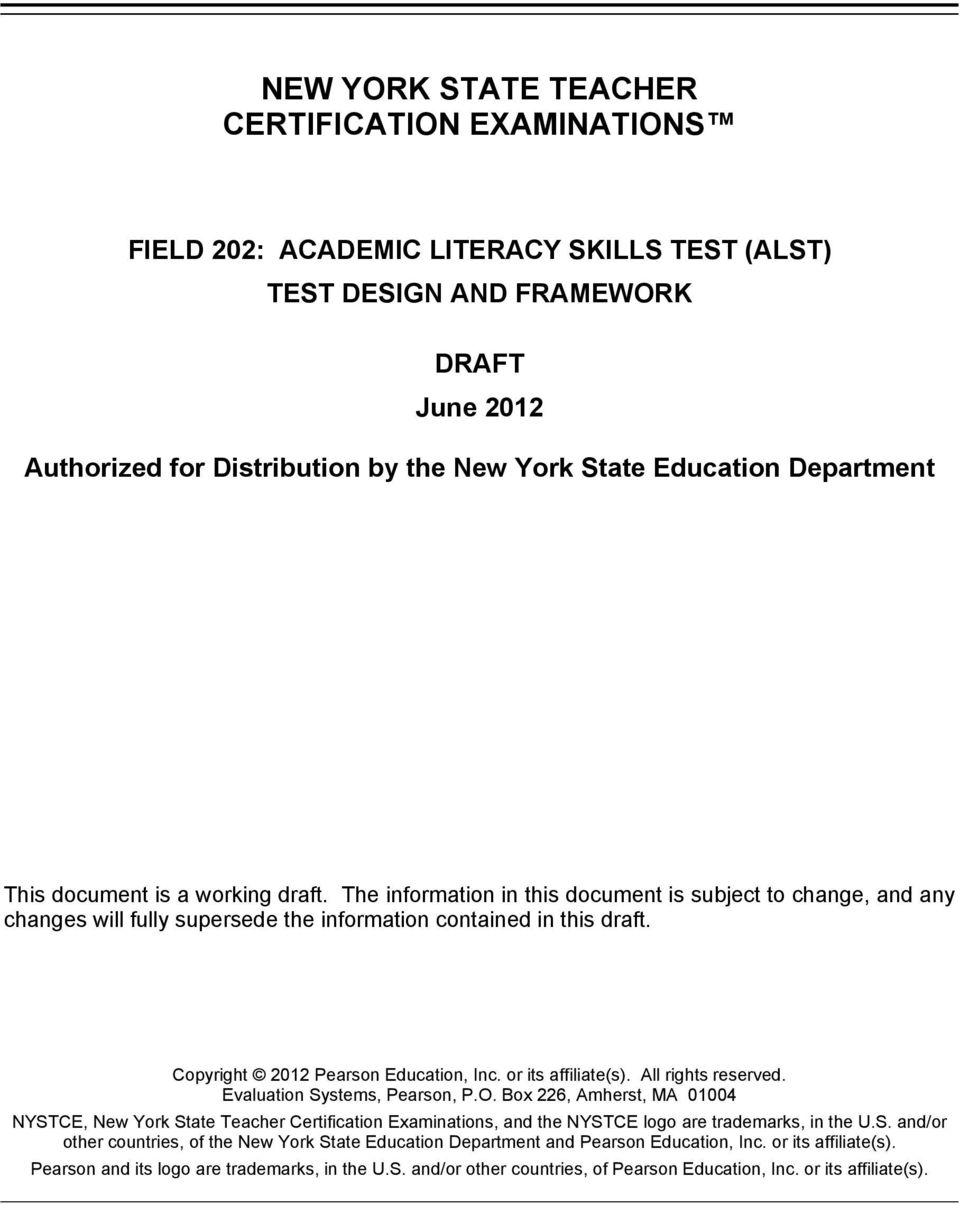 NYSTCE, New York State Teacher Certification Examinations, and the NYSTCE logo are trademarks, in the U.S. and/or other countries, of the New York State Education Department and Pearson Education, Inc.