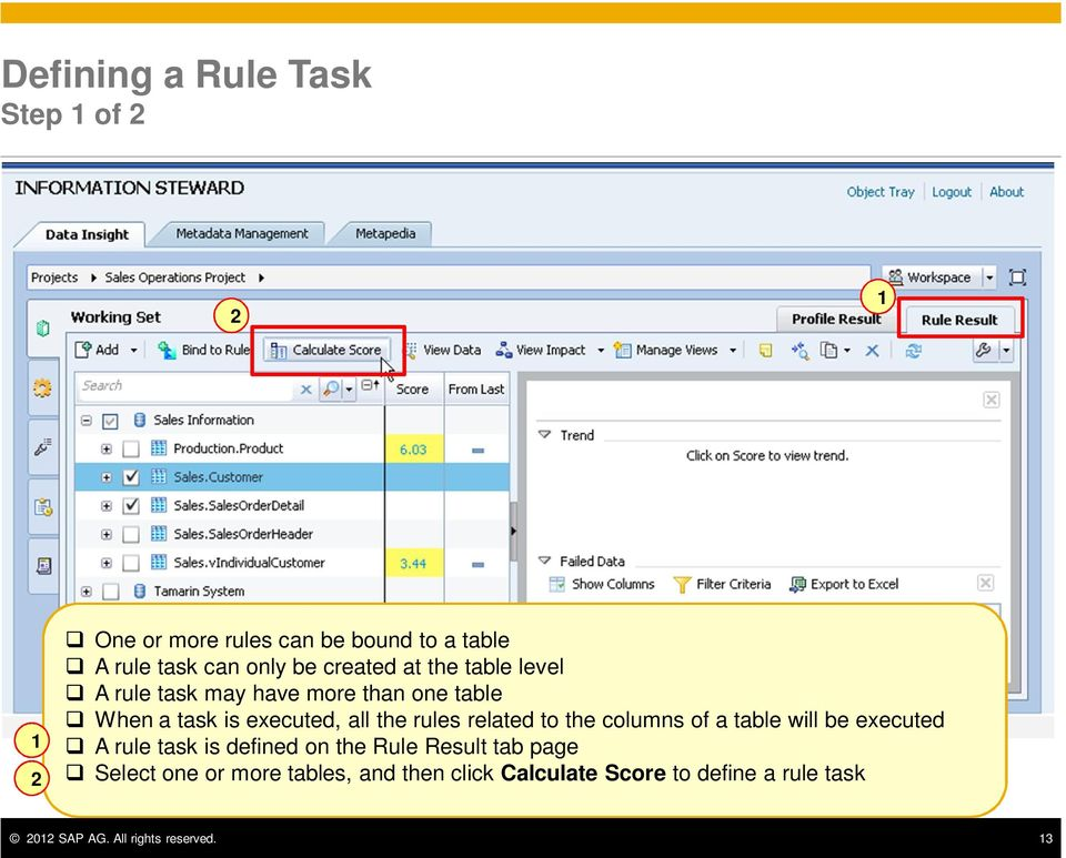 related to the columns of a table will be executed A rule task is defined on the Rule Result tab page