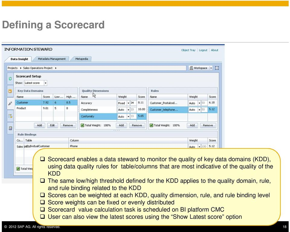the KDD Scores can be weighted at each KDD, quality dimension, rule, and rule binding level Score weights can be fixed or evenly distributed Scorecard value