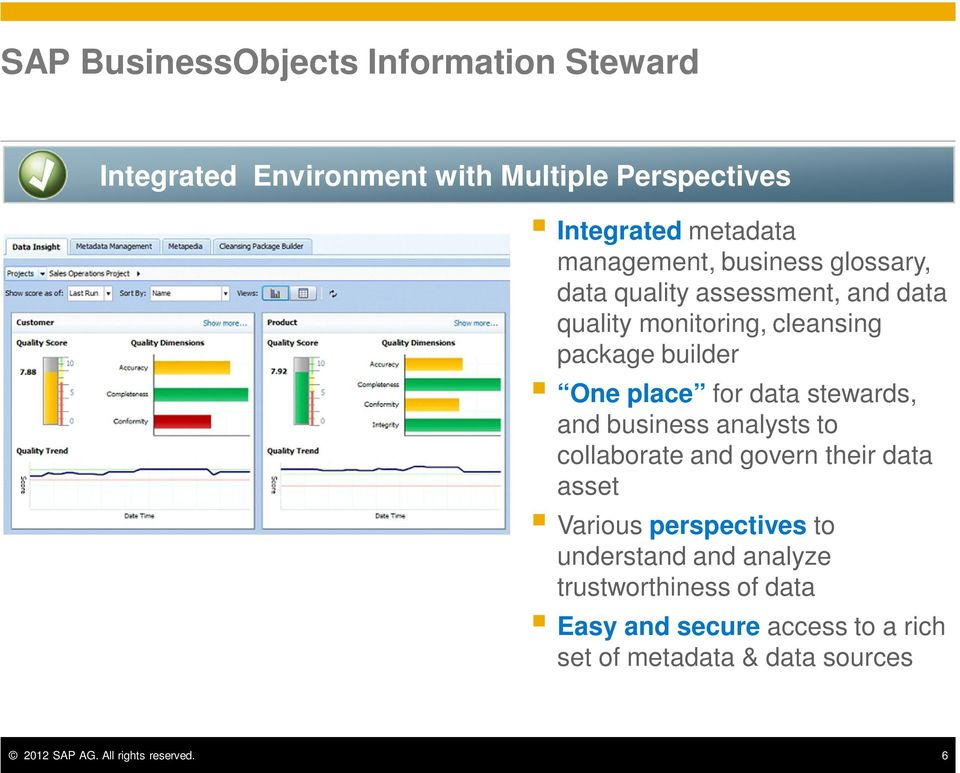 stewards, and business analysts to collaborate and govern their data asset Various perspectives to understand and analyze