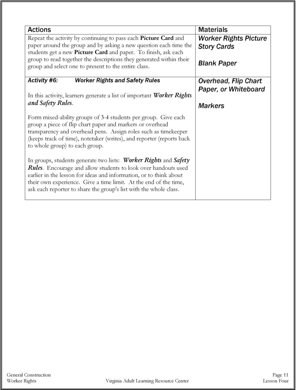 Activity #6: Worker Rights and Safety Rules In this activity, learners generate a list of important Worker Rights and Safety Rules. Form mixed-ability groups of 3-4 students per group.