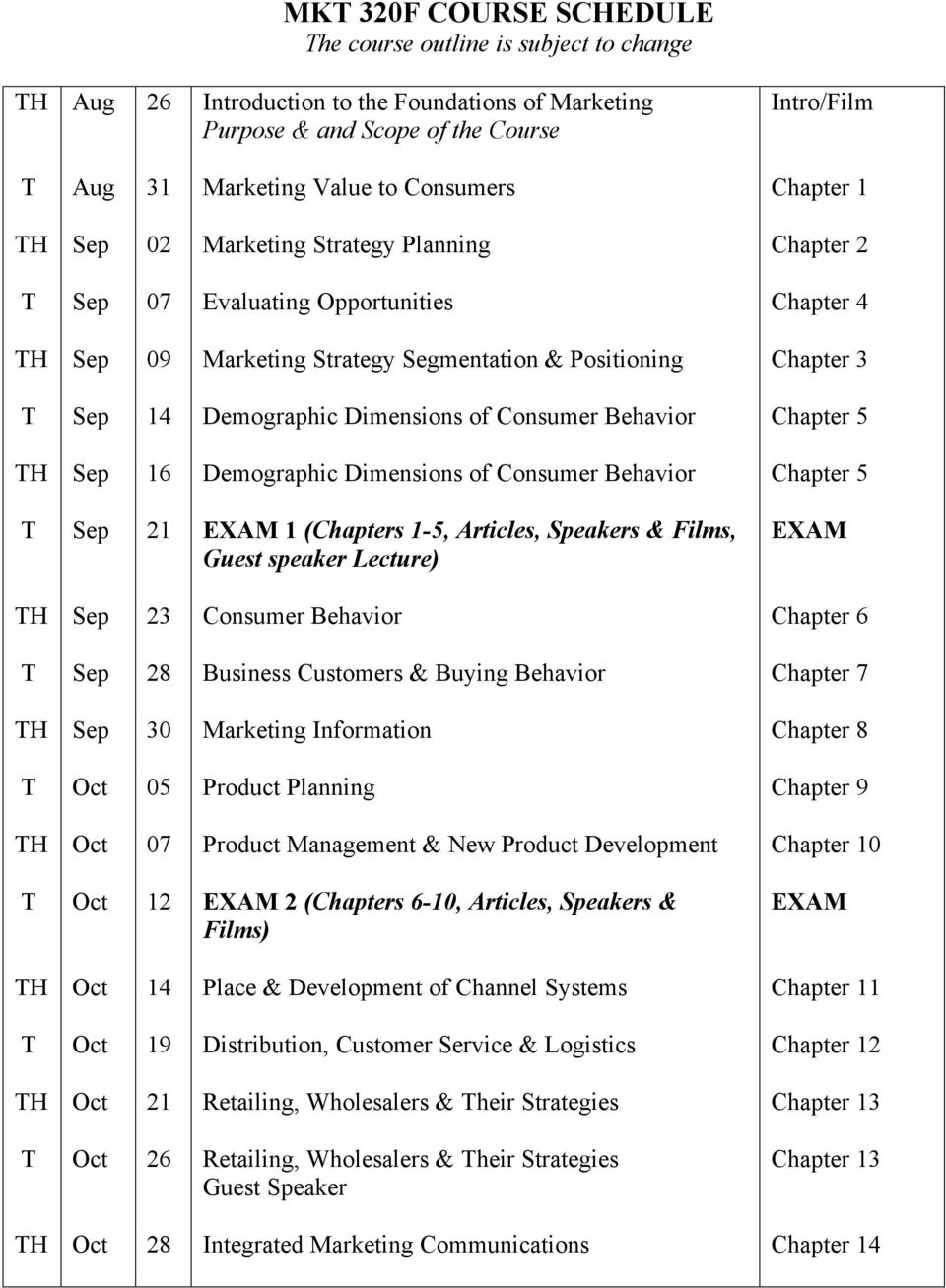 Chapter 5 16 Demographic Dimensions of Consumer Behavior Chapter 5 21 EXAM 1 (Chapters 1-5, Articles, Speakers & Films, Guest speaker Lecture) EXAM 23 Consumer Behavior Chapter 6 28 Business