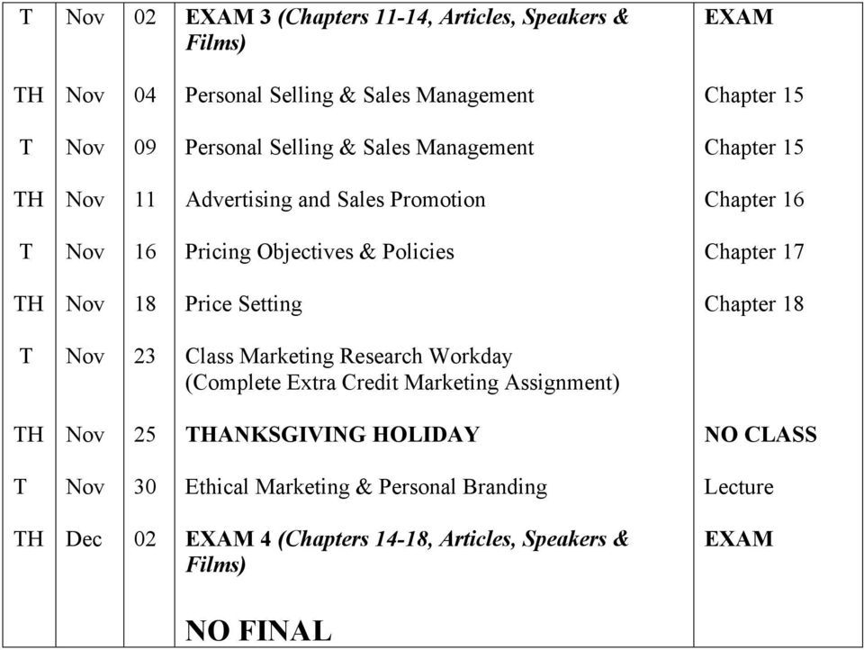 18 Price Setting Chapter 18 23 Class Marketing Research Workday (Complete Extra Credit Marketing Assignment) 25 ANKSGIVING