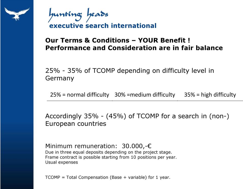 difficulty 30% =medium difficulty 35% = high difficulty Accordingly 35% - (45%) of TCOMP for a search in (non-) European