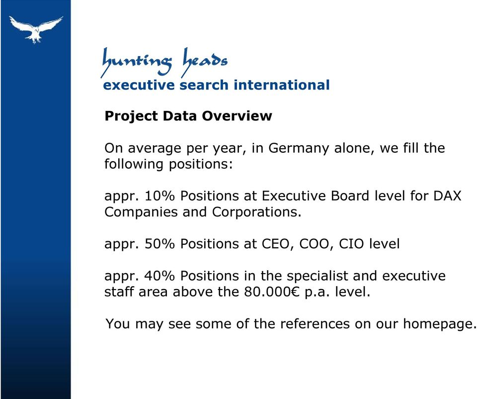appr. 50% Positions at CEO, COO, CIO level appr.