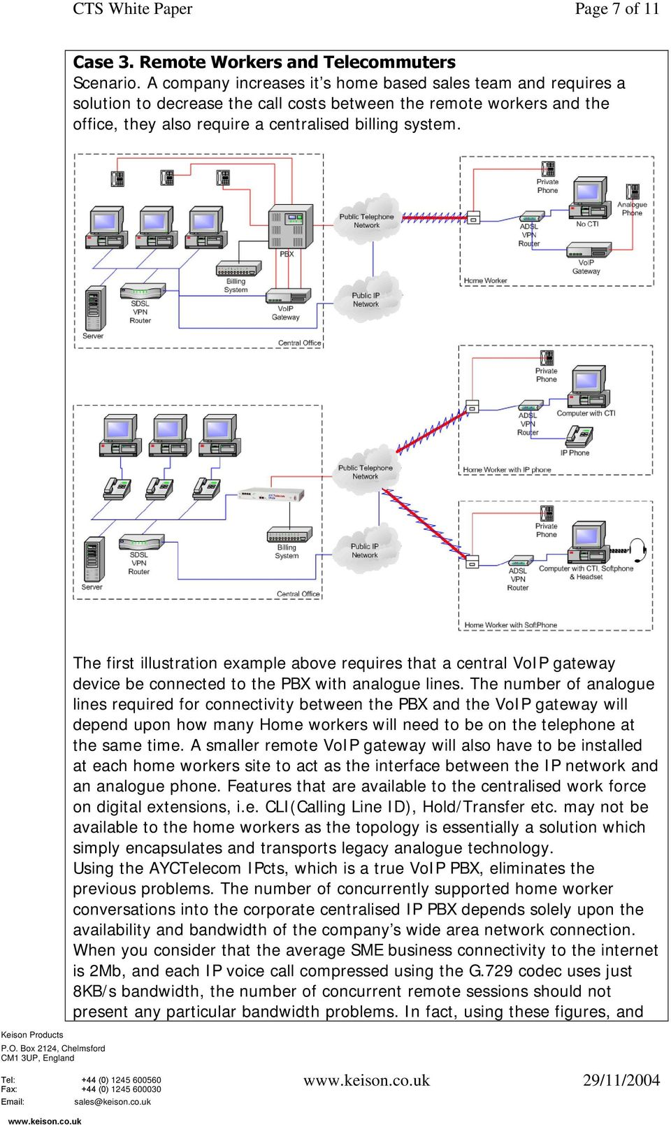 The first illustration example above requires that a central VoIP gateway device be connected to the PBX with analogue lines.