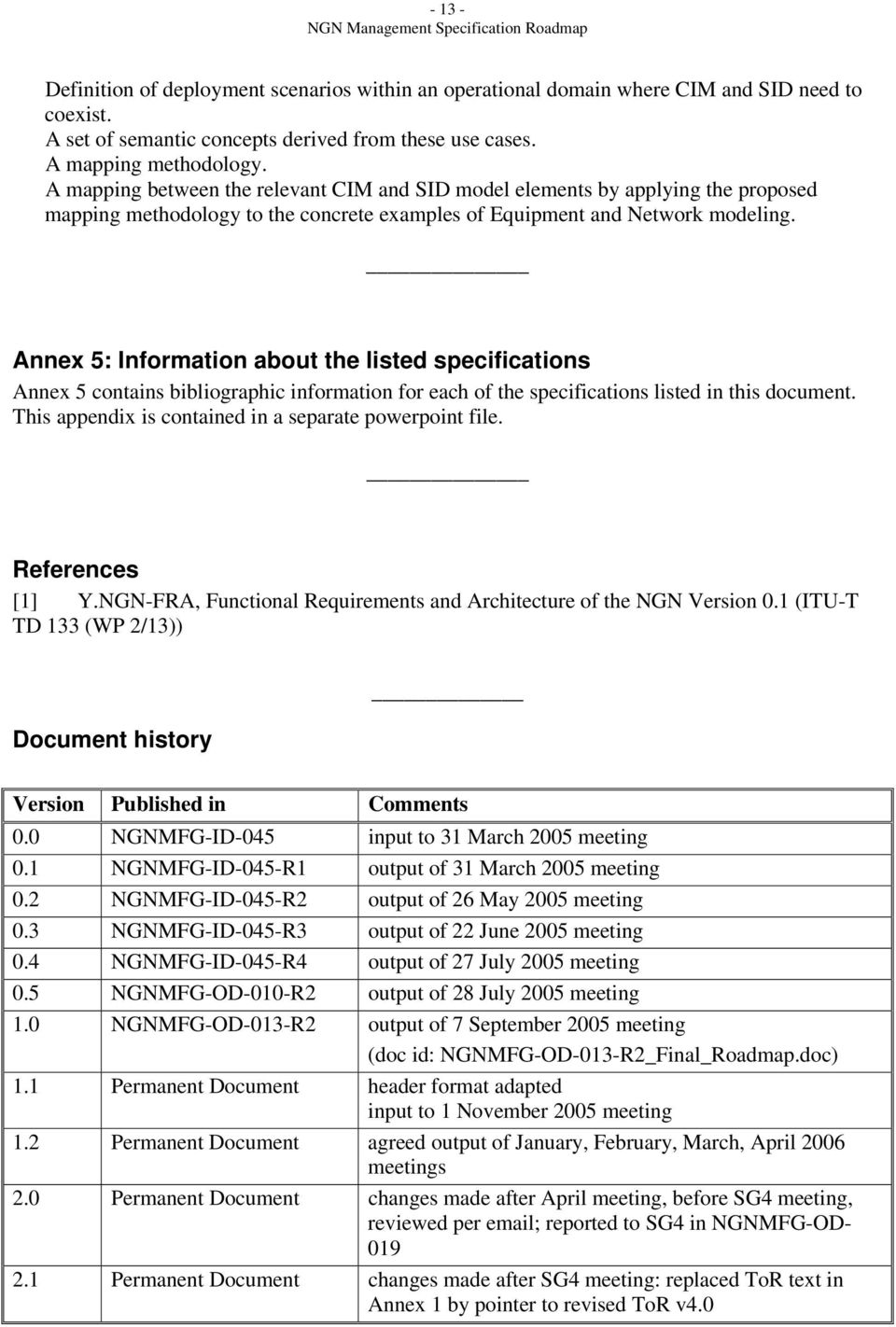 Annex 5: Information about the listed specifications Annex 5 contains bibliographic information for each of the specifications listed in this document.