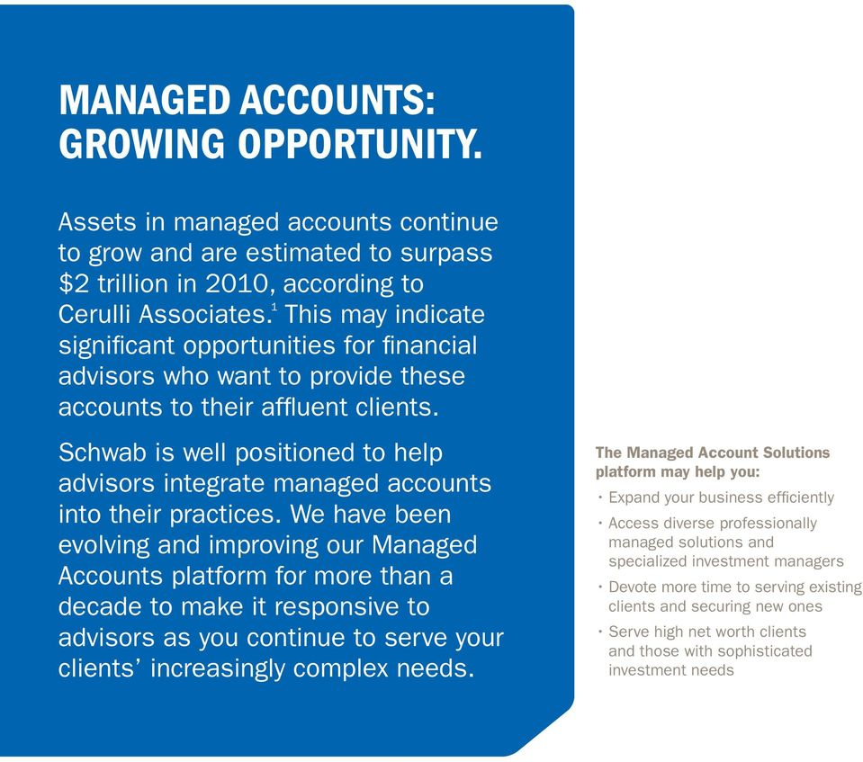 Schwab is well positioned to help advisors integrate managed accounts into their practices.