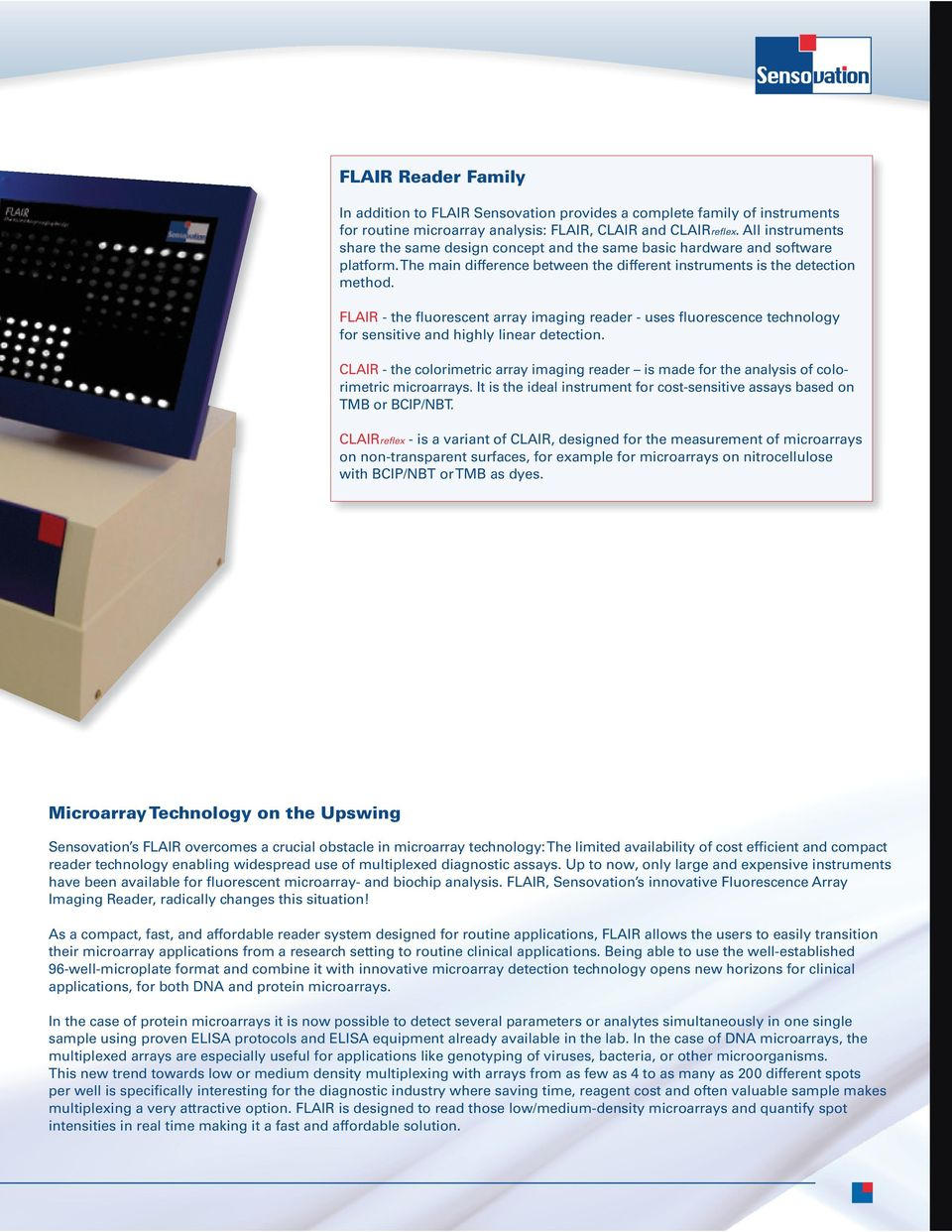 FLAIR - the fluorescent array imaging reader - uses fluorescence technology for sensitive and highly linear detection.