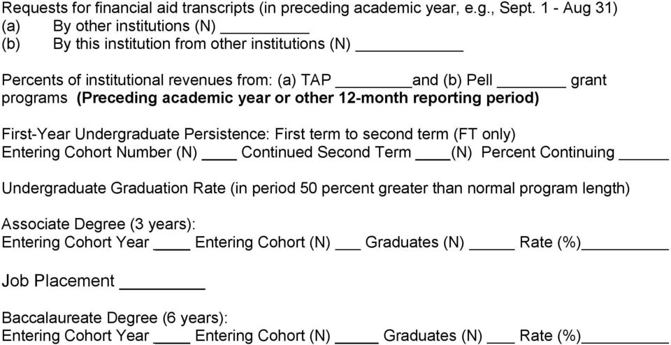 academic year or other 12 month reporting period) First Year Undergraduate Persistence: First term to second term (FT only) Entering Cohort Number (N) Continued Second Term (N) Percent