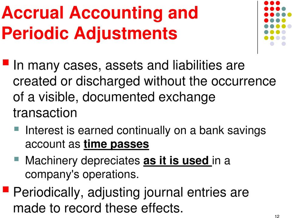earned continually on a bank savings account as time passes Machinery depreciates as it is used