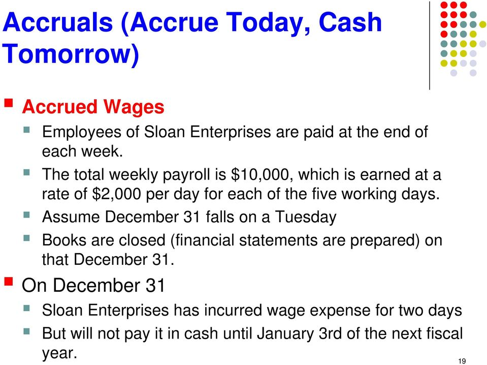 Assume December 31 falls on a Tuesday Books are closed (financial statements are prepared) on that December 31.