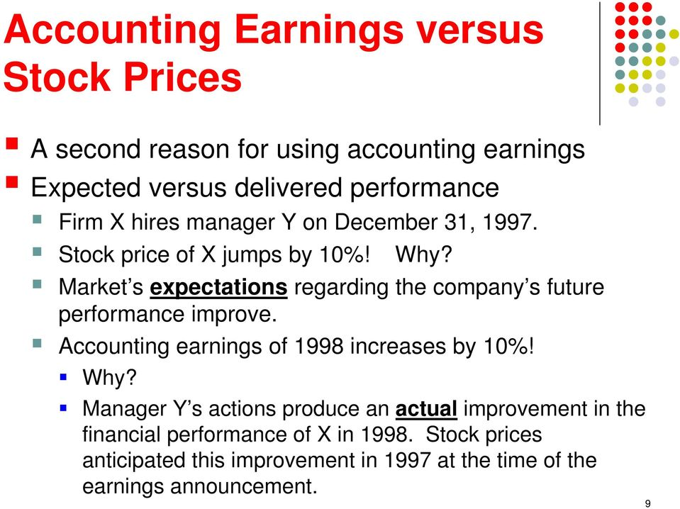 Market s expectations regarding the company s future performance improve. Accounting earnings of 1998 increases by 10%! Why?