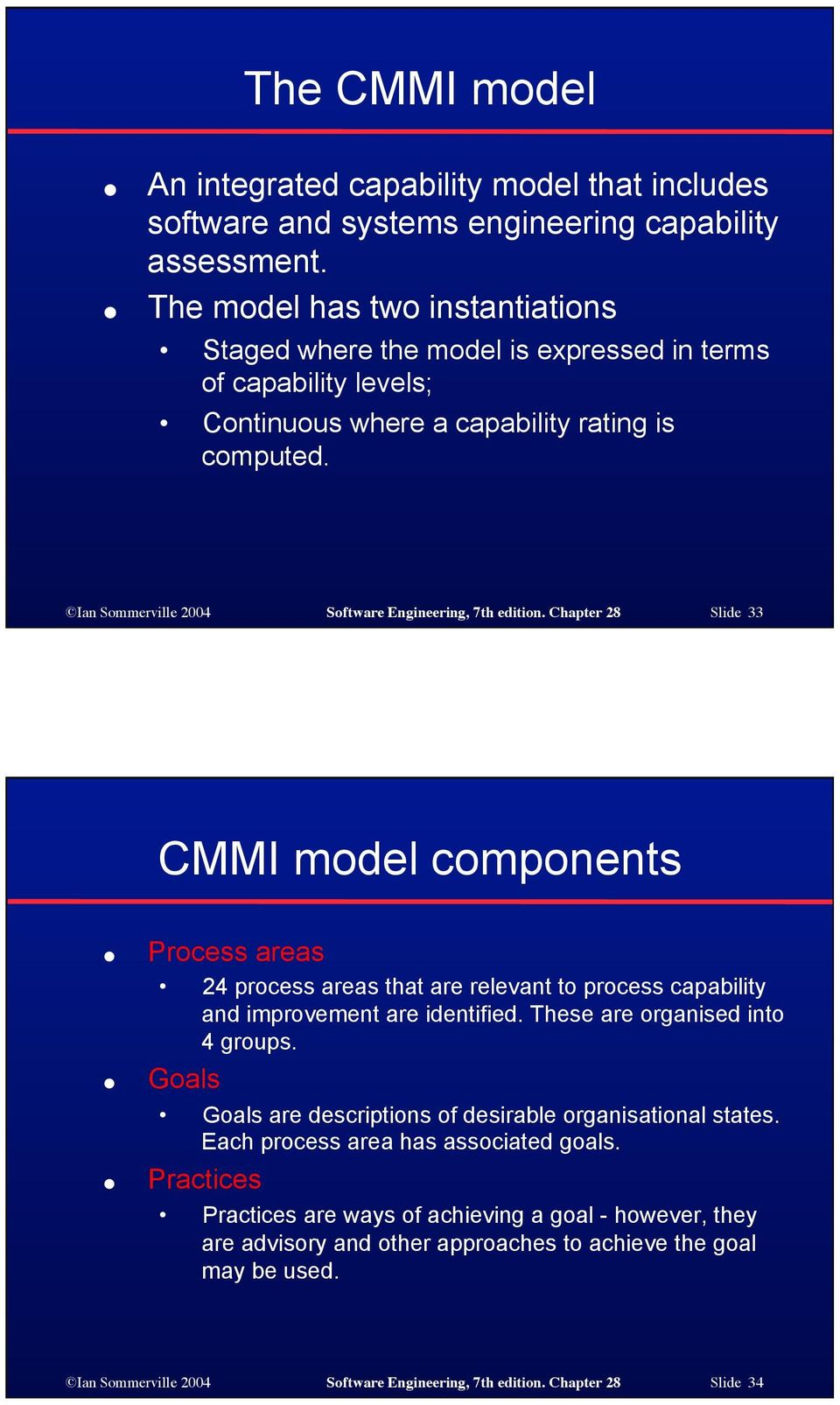 Ian Sommerville 2004 Software Engineering, 7th edition. Chapter 28 Slide 33 CMMI model components Process areas 24 process areas that are relevant to process capability and improvement are identified.