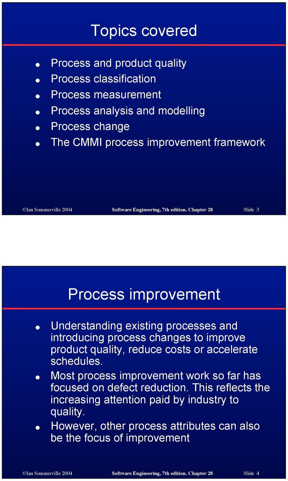 Chapter 28 Slide 3 Process improvement Understanding existing processes and introducing process changes to improve product quality, reduce costs or accelerate schedules.