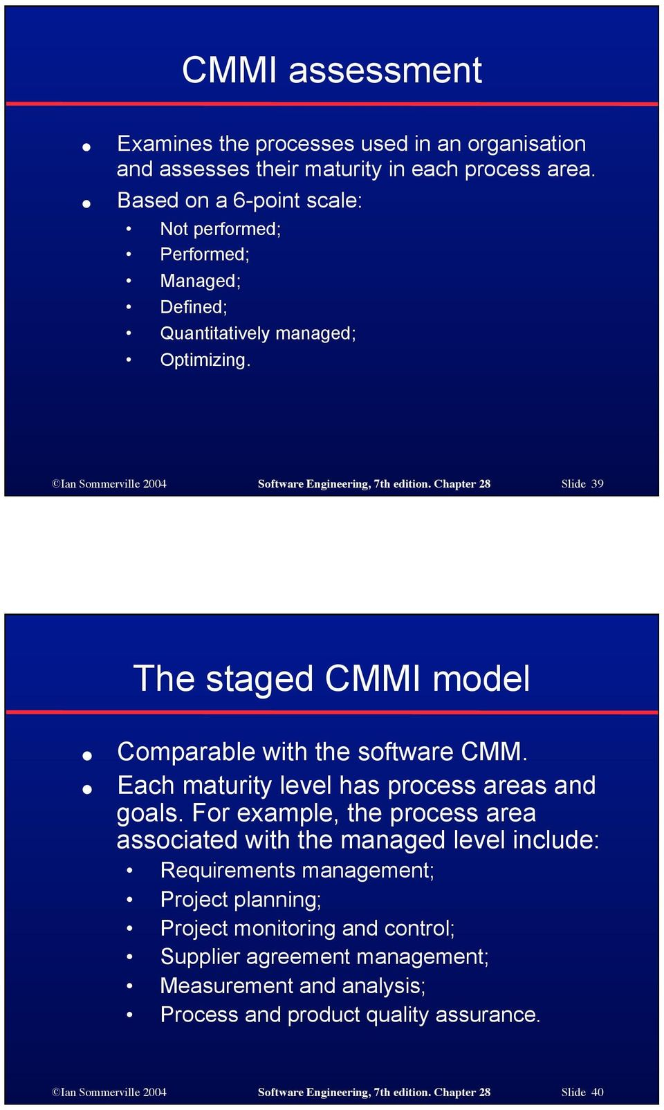 Chapter 28 Slide 39 The staged CMMI model Comparable with the software CMM. Each maturity level has process areas and goals.