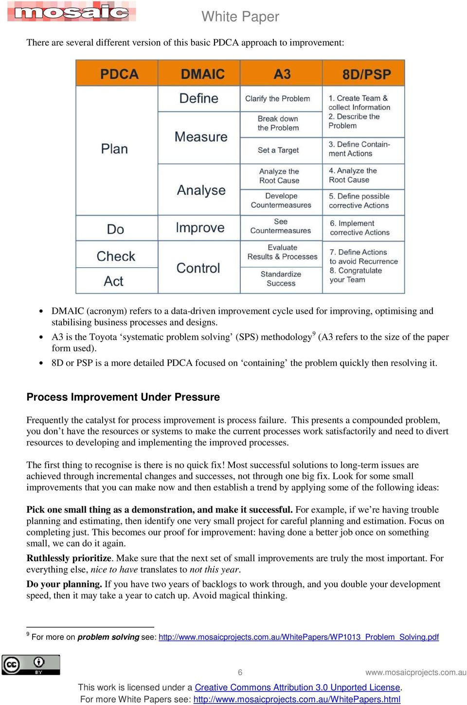 8D or PSP is a more detailed PDCA focused on containing the problem quickly then resolving it. Process Improvement Under Pressure Frequently the catalyst for process improvement is process failure.