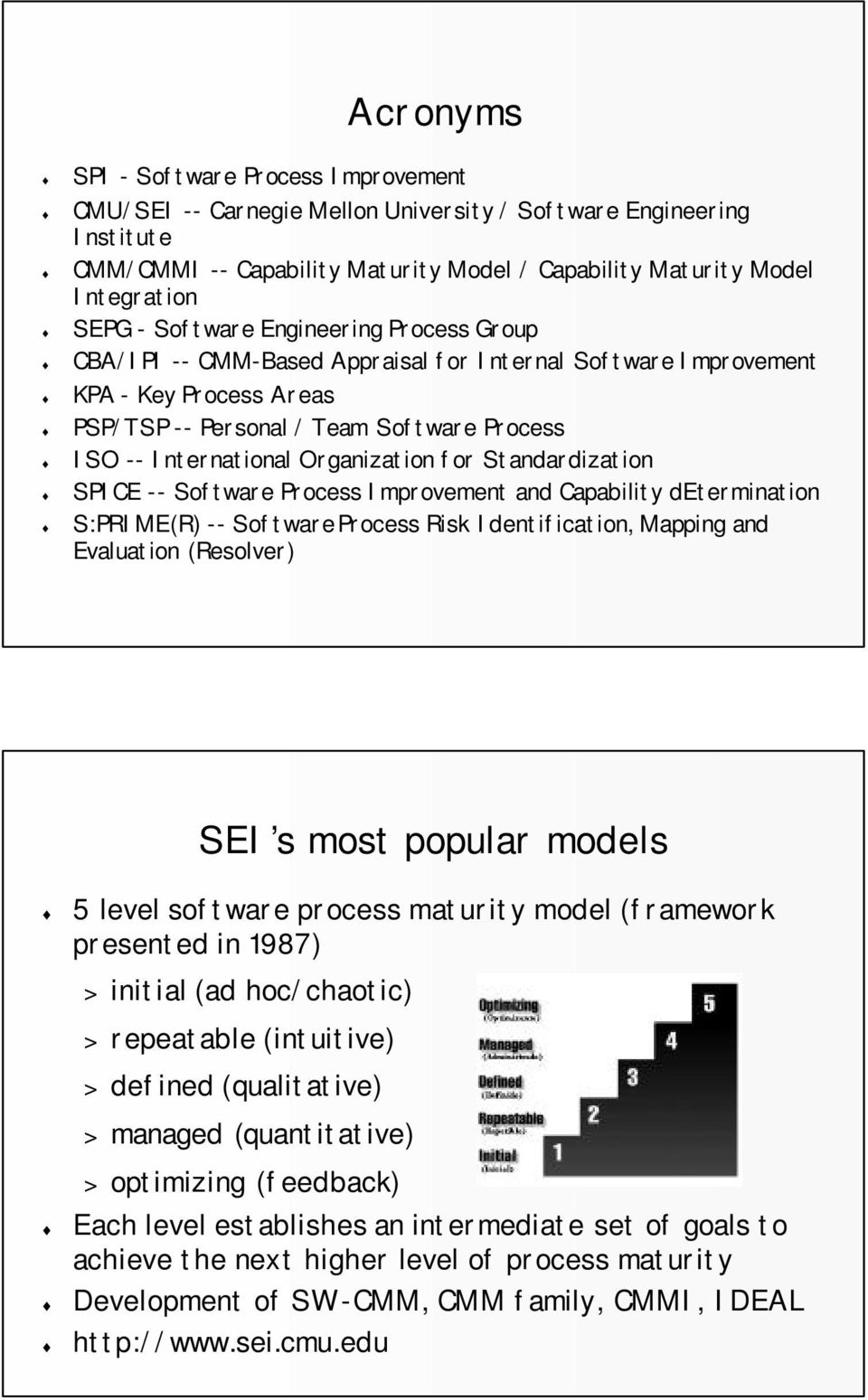 Organization for Standardization SPICE -- Software Process Improvement and Capability determination S:PRIME(R) -- Software Process Risk Identification, Mapping and Evaluation (Resolver) SEI s most