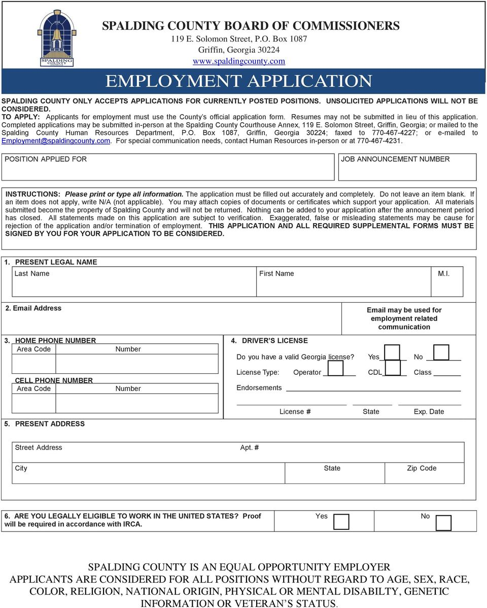 TO APPLY: Applicants for employment must use the County s official application form. Resumes may not be submitted in lieu of this application.
