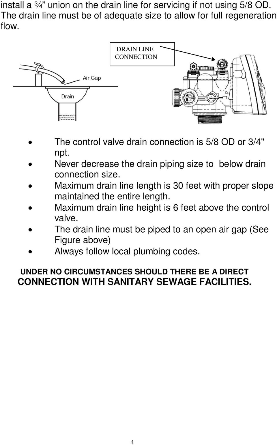 Maximum drain line length is 30 feet with proper slope maintained the entire length. Maximum drain line height is 6 feet above the control valve.