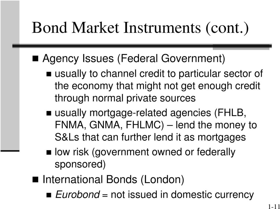 not get enough credit through normal private sources usually mortgage-related agencies (FHLB, FNMA, GNMA,