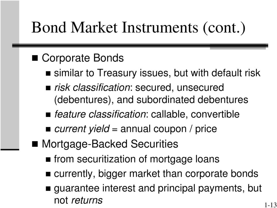 (debentures), and subordinated debentures feature classification: callable, convertible current yield =