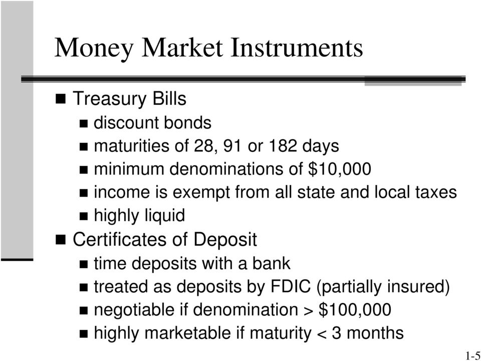 liquid Certificates of Deposit time deposits with a bank treated as deposits by FDIC