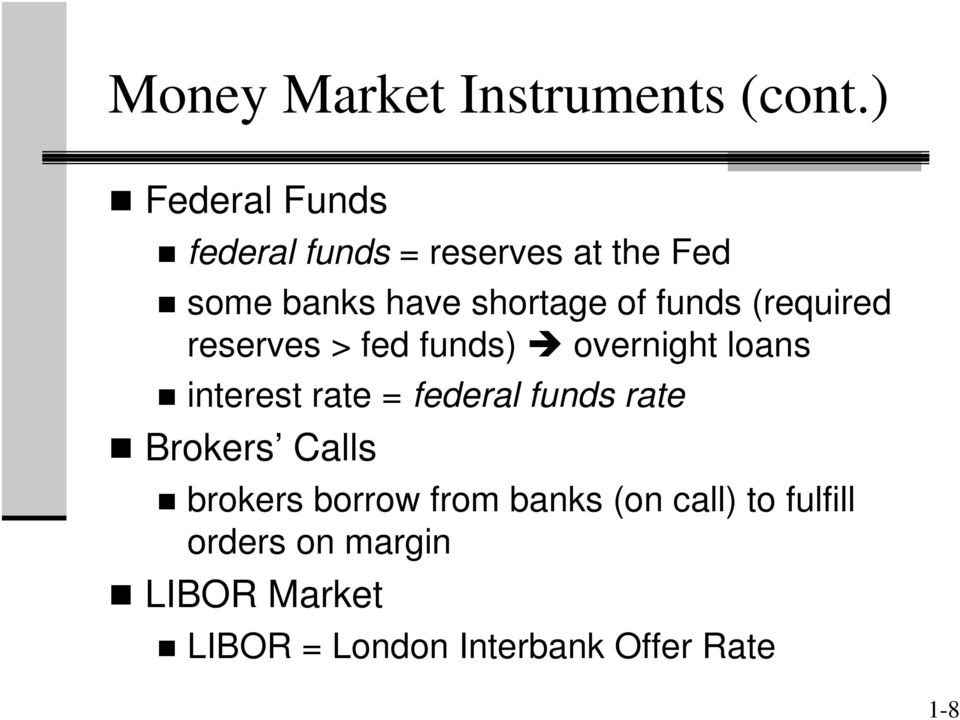 funds (required reserves > fed funds) overnight loans interest rate = federal